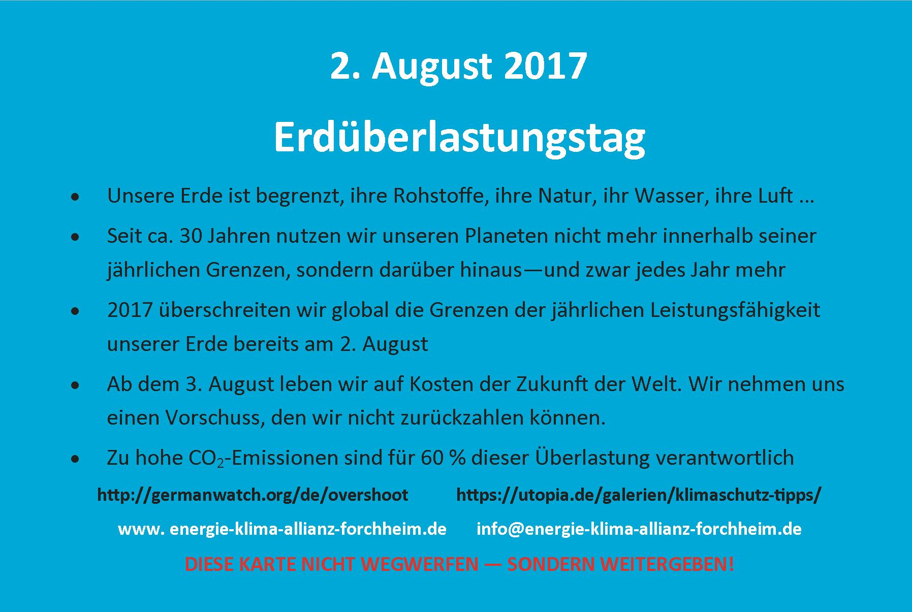 2. August 2017 Erdueberlastungstag